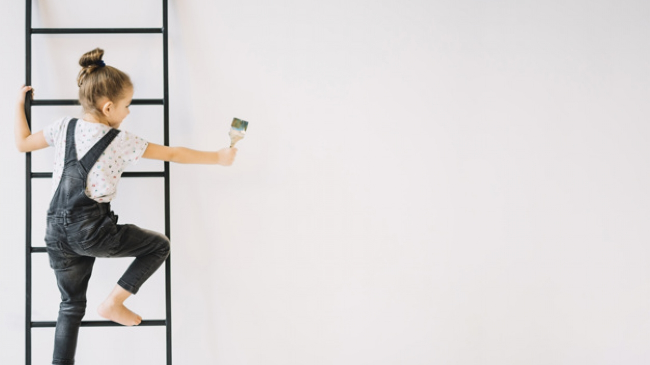 girl-with-brush-ladder-near-wall_23-2148037911